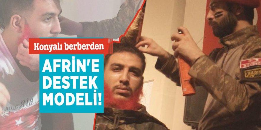 Konyalı berberden Afrin'e destek modeli!