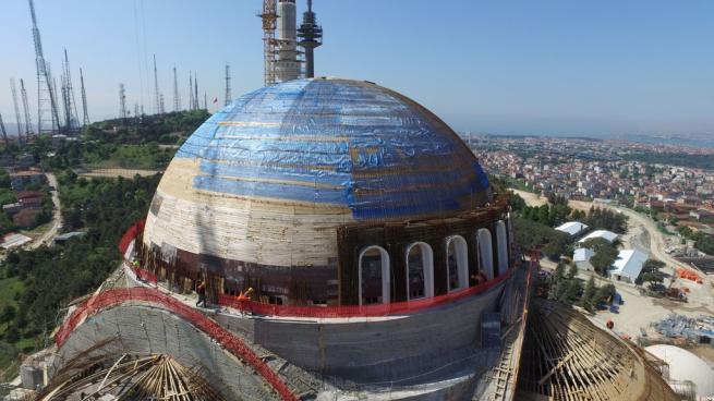 Çamlıca Cami'nde dev kubbenin beton dökme işlemi başladı 6