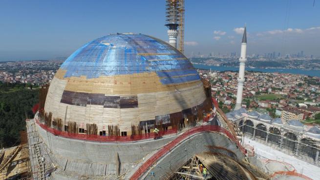 Çamlıca Cami'nde dev kubbenin beton dökme işlemi başladı 9