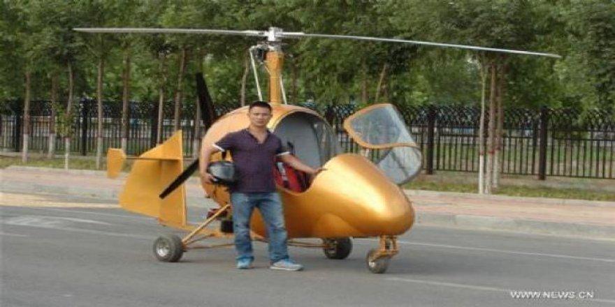 Çinli adam kendi helikopterini yaptı