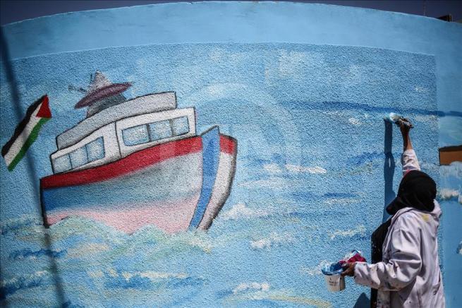 Gazze'nin duvarlarına Filistin kültürünü resmediyorlar 1