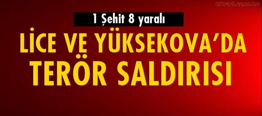Lice ve Yüksekova'da terör saldırısı: 1 şehit 8 asker yaralı