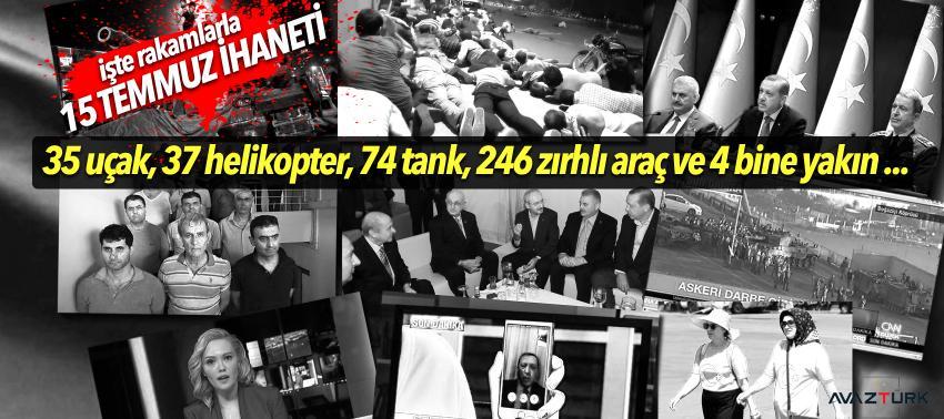 Darbeciler 15 Temmuz gecesi, 35 uçak, 37 helikopter, 74 tank, 246 zırhlı araç ve...