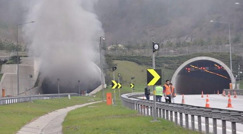 Bolu Dağı Tünelinde tır alev aldı!