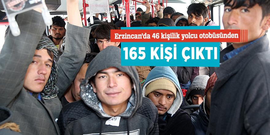 Erzincan'da 46 kişilik yolcu otobüsünden 165 kişi çıktı