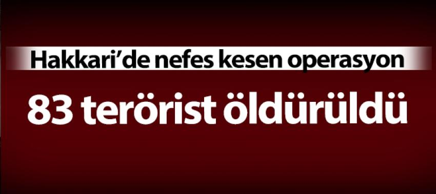 Hakkari'de terörün nefesi kesildi! 83 PKK'lı öldürüldü
