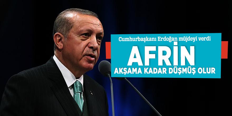 """Cumhurbaşkanı Erdoğan: """"Afrin akşama kadar düşmüş olur"""""""