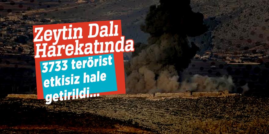Zeytin Dalı Harekatında 3733 terörist etkisiz hale getirildi