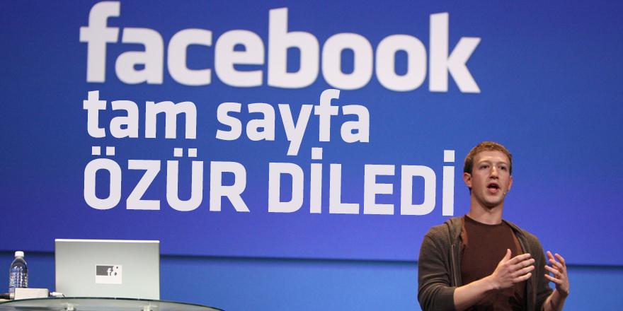 Zuckerberg tam sayfa özür diledi