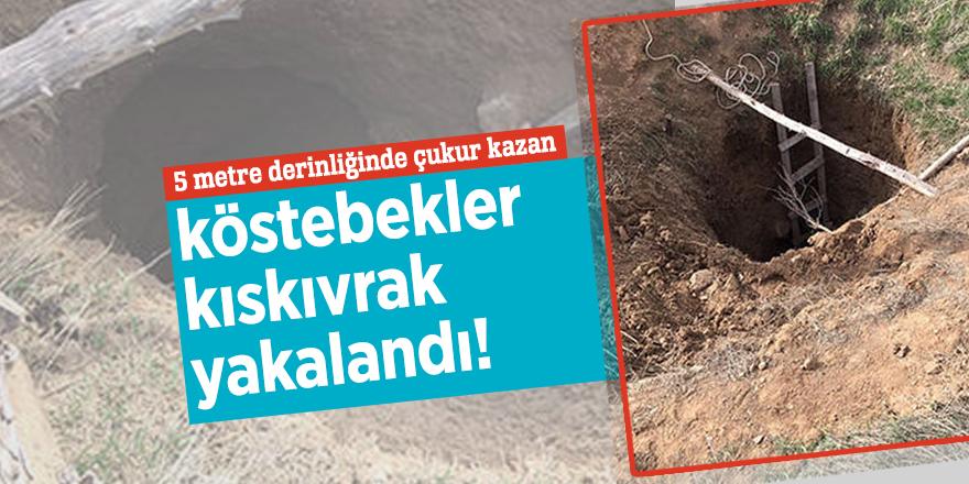 5 metre derinliğinde çukur kazan köstebekler kıskıvrak yakalandı!