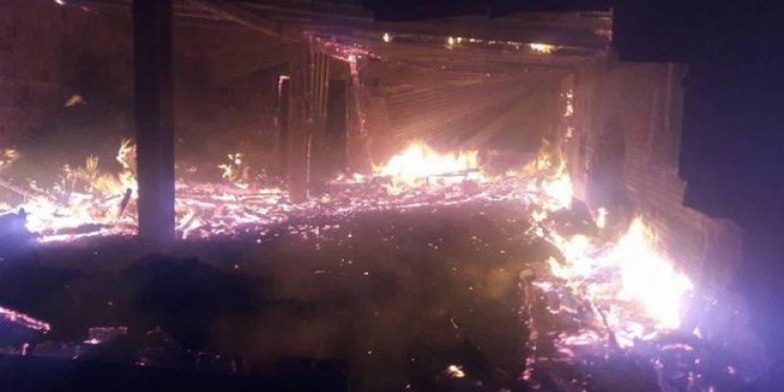 Mandırada çıkan yangında 40 hayvan telef oldu