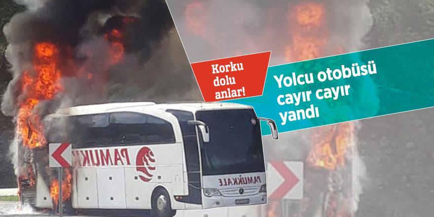 Düzce'de yolcu otobüsü cayır cayır yandı