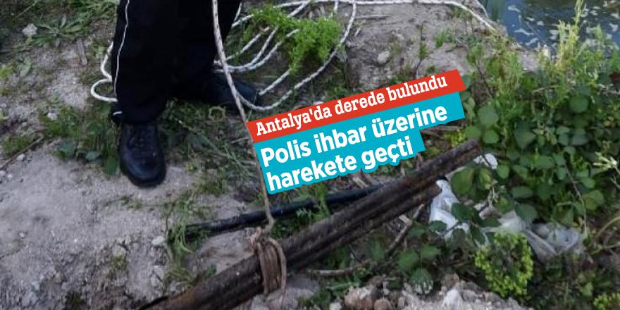 Antalya'da polis ihbar üzerine harekete geçti!  Dereden havalı tüfek ve av tüfeği namlusu çıktı
