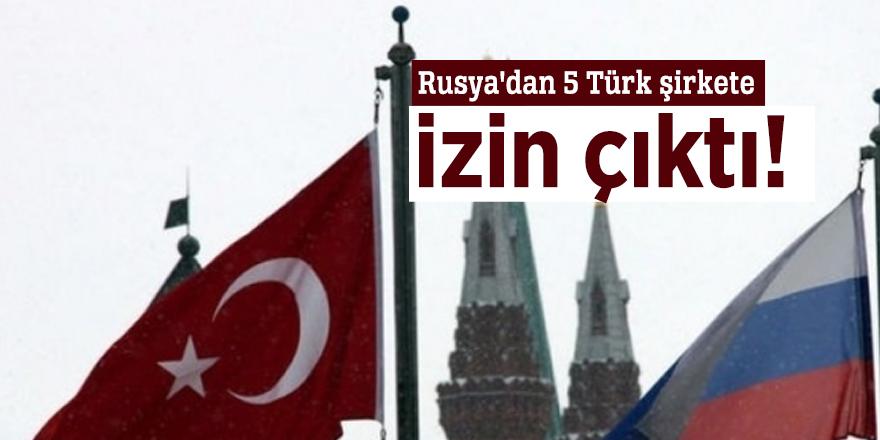 Rusya'dan 5 Türk şirkete izin çıktı!