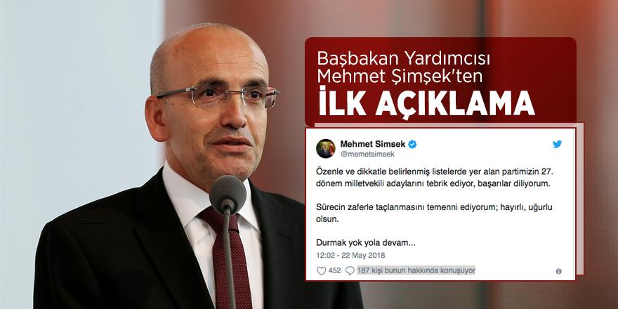 Başbakan Yardımcısı Mehmet Şimşek'ten ilk açıklama