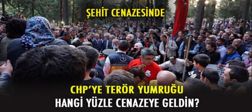 Şehit cenazesinde CHP'li vekile terör yumruğu!