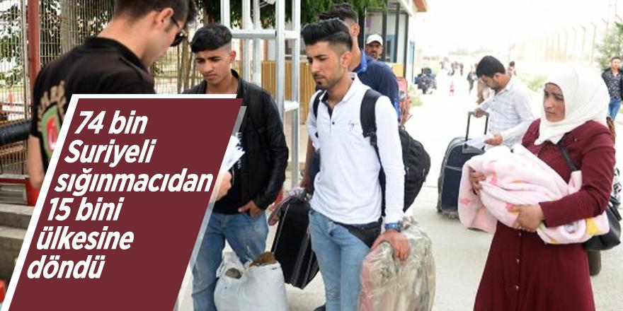 74 bin Suriyeli sığınmacıdan 15 bini ülkesine döndü