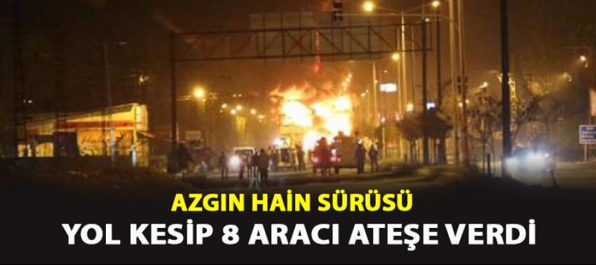 PKK'lılar yol kesip 8 aracı ateşe verdi