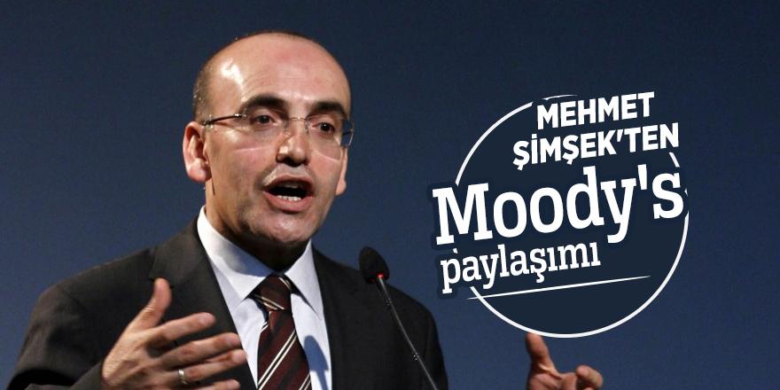 Mehmet Şimşek'ten Moody's paylaşımı