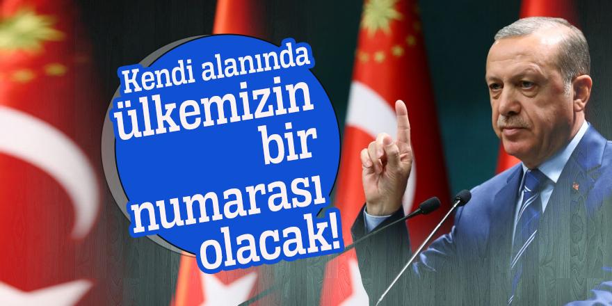 Erdoğan: Kendi alanında ülkemizin bir numarası olacak!