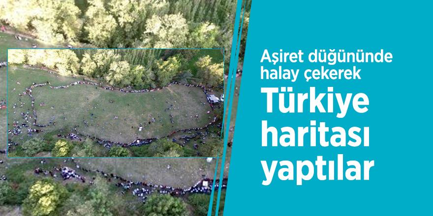 Aşiret düğününde halay çekerek Türkiye haritası yaptılar
