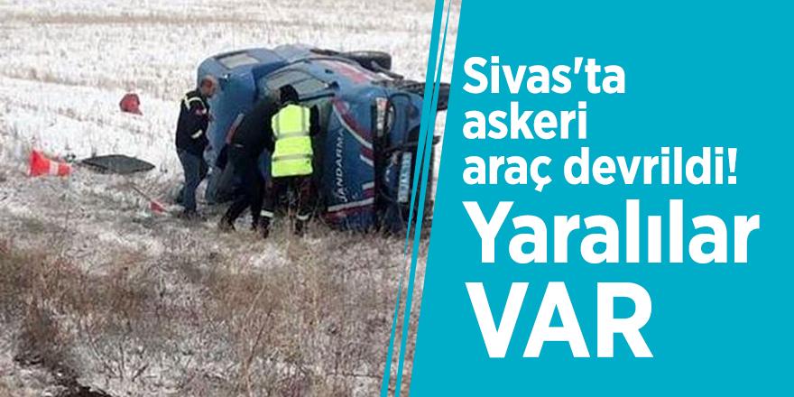 Sivas'ta askeri araç devrildi! Yaralılar var