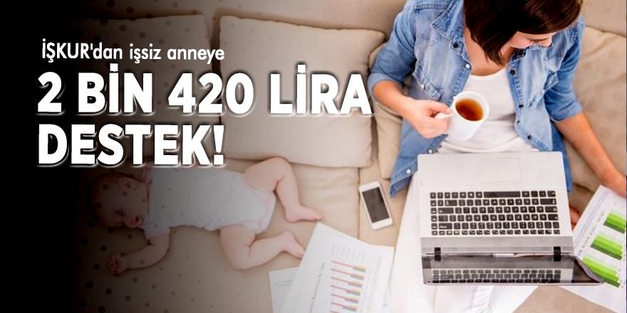 İŞKUR'dan işsiz anneye 2 bin 420 lira destek!