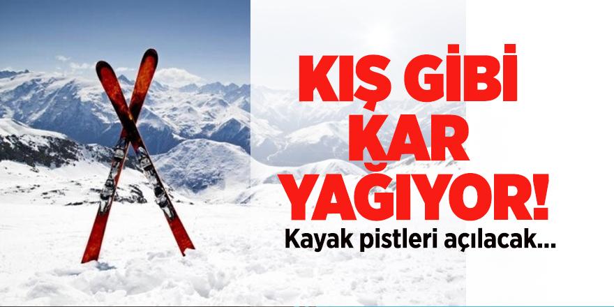 Kış gibi kar yağıyor! Kayak pistleri açılacak...