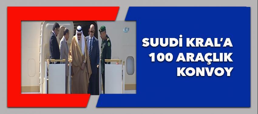 Suudi Kral'a 100 araçlık konvoy