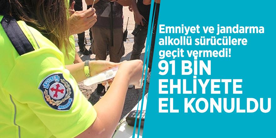Emniyet ve jandarma alkollü sürücülere geçit vermedi! 91 bin ehliyete el konuldu