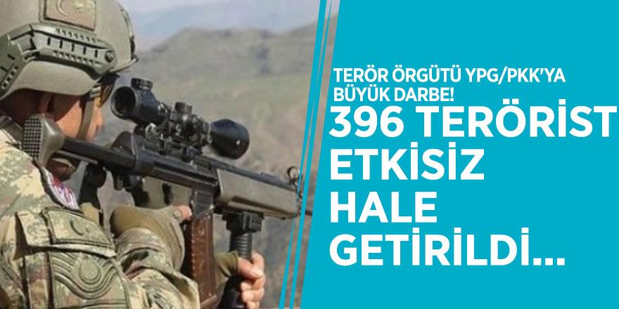 Terör örgütü YPG/PKK'ya büyük darbe! 396 terörist etkisiz hale getirildi...