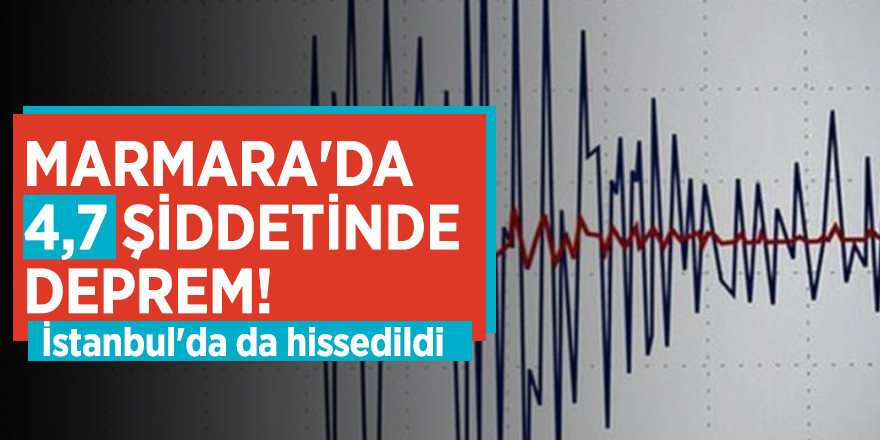 Marmara'da 4,7 şiddetinde deprem! İstanbul'da da hissedildi