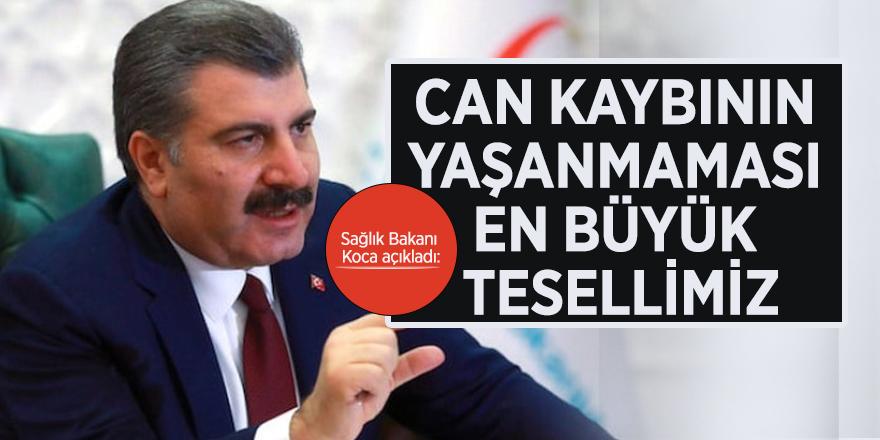 """Sağlık Bakanı Koca açıkladı: """" Can kaybının yaşanmaması en büyük tesellimiz"""""""