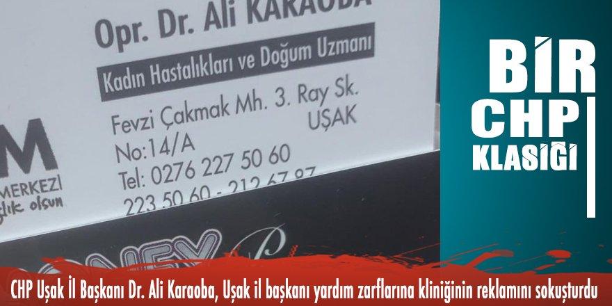 Bir CHP klasiği: Uşak il başkanı yardım zarflarına kliniğinin reklamını sokuşturdu