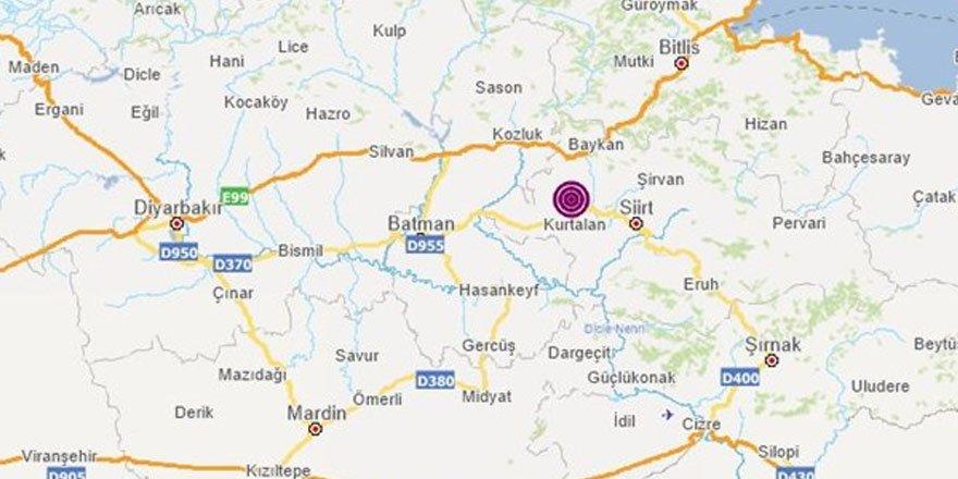 Siirt'te 5 büyüklüğünde deprem meydana geldi!