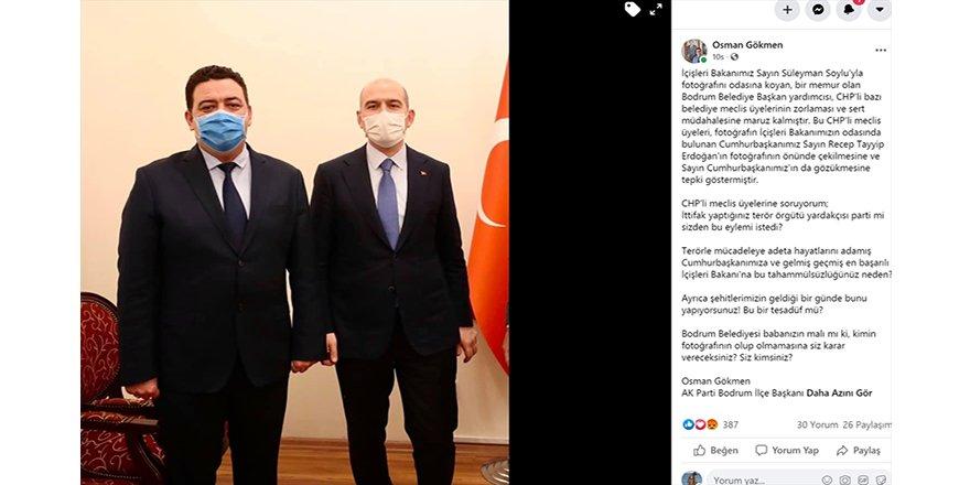 İçişleri Bakanı Soylu'nun Bodrum Belediyesi'ndeki fotoğrafının CHP'li Meclis Üyelerince kaldırılmak istenmesi gerginliğe sebep oldu