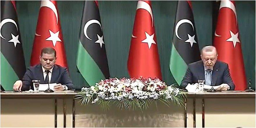 Cumhurbaşkanı Erdoğan, Libya Başbakanı Dibeybe ile ortak basın toplantısında konuştu