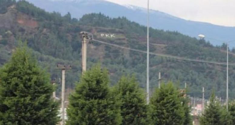 Manisa'da dağa 'PKK' yazan iki kişi gözaltında