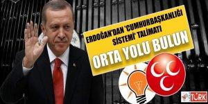 Erdoğan'dan 'Cumhurbaşkanlığı sistemi' talimatı: Orta yolu bulun