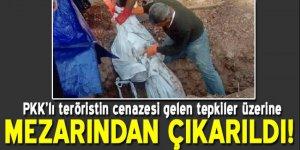 Tepkiler üzerine PKK'lı teröristin cesedi mezardan çıkartıldı