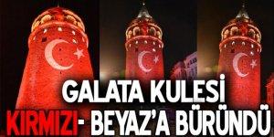 Terör saldırısı sonrası, Galata kırmızı beyaza büründü