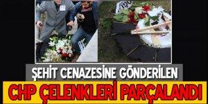 Şehit cenazesinde CHP çelengi parçalandı