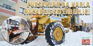 Pursaklar'da karla mücadele seferberliği