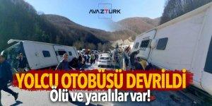 Bursa'da yolcu otobüsü devrildi: Çok sayıda can kaybı var