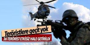TSK: 36 terörist etkisiz hale getirildi