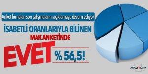 İsabetli oranlarıyla bilinen MAK anketinde EVET Yüzde 56,5