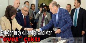 """Erdoğan'ın oy kullandığı sandıktan  """"evet"""" çıktı!"""