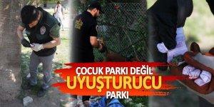 Şok görüntüler! Çocuk parkı değil uyuşturucu parkı