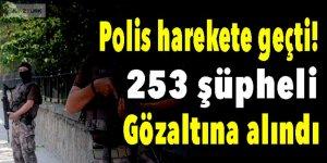 Polis harekete geçti! 253 şüpheli gözaltına alındı
