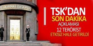 TSK açıkladı: 12 terörist etkisiz hale getirildi